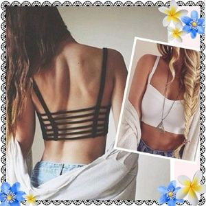 Other - Black strappy bralette with caged back, padded, OS